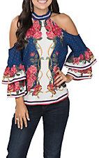 Flying Tomato Women's Open Shoulder Navy Floral Fashion Top