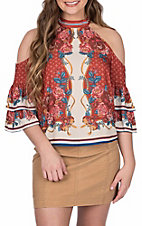 Flying Tomato Women's Open Shoulder Rust Floral Fashion Top