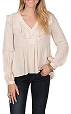 Flying Tomato Women's Cream Solid Ruffle V-Neck Top