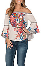 Flying Tomato Women's Ivory with Red and Blue Floral Print Off the Shoulder Long Bell Sleeve Fashion Top
