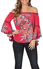 Flying Tomato Women's Red Floral Print Off the Shoulder Long Bell Sleeve Fashion Top