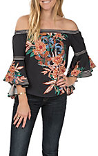 Flying Tomato Women's Black Floral Print Off the Shoulder Long Bell Sleeve Fashion Top
