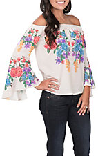 Flying Tomato Women's Ivory Floral Off the Shoulder Fashion Top