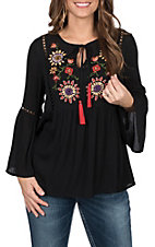 Flying Tomato Women's Black Floral Embroidered Top