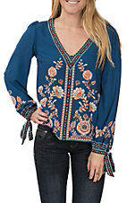 Flying Tomato Women's Navy Floral Long Sleeve V-Neck Top