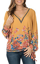 Flying Tomato Women's Mustard Floral Long Sleeve V-Neck Top