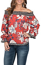 Flying Tomato Women's Rust Floral Off The Shoulder Top