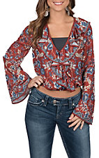 Flying Tomato Women's Rust Floral Print Crop Top