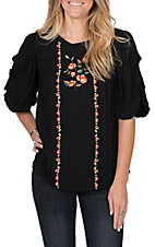 Flying Tomato Women's Black Embroidered Top