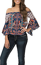 Flying Tomato Women's Navy Floral Off the Shoulder Fashion Top