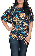 FLying Tomato Women's Navy Floral Print Tunic