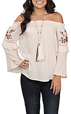 Flying Tomato Women's Cream Embroidered Fashion Top