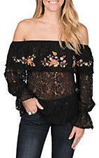 Flying Tomato Women's Black Lace Embroidered Off The Shoulder Top