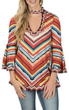 Flying Tomato Women's Red Chevron Choker Fashion Top