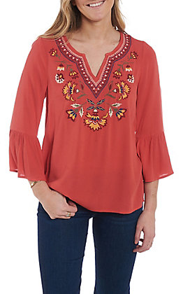 Flying Tomato Women's Coral Floral Bell Sleeve Fashion Top