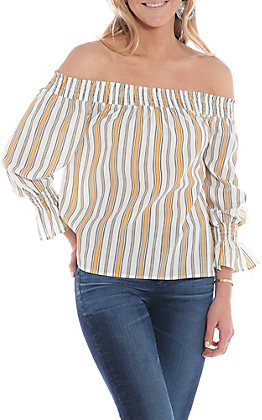 Flying Tomato Women's Yellow And White Striped Off The Shoulder Fashion Top