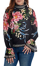 Flying Tomato Women's Floral High Neck Long Bell Sleeve Fashon Top