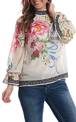 Flying Tomato Women's Ivory Floral High Neck Long Bell Sleeve Fashion Top