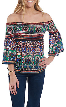 Flying Tomato Women's Green Aztec Print Smocked Fashion Top