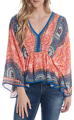 Flying Tomato Women's Orange Aztec V-Neck Fashion Top