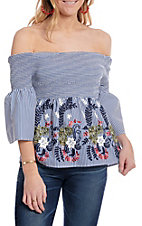 Flying Tomato Women's Blue Stripe Floral Off The Shoulder Bell Sleeve Fashion Top