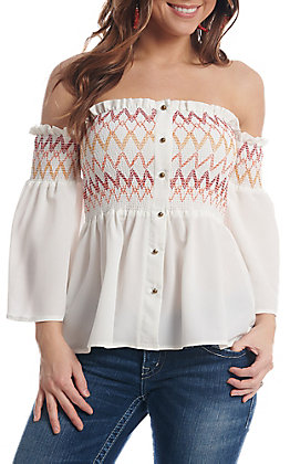 Flying Tomato Women's Ivory Off The Shoulder Tube Top