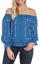 Flying Tomato Women's Blue Print Off the Shoulder Fashion Top
