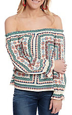 Flying Tomato Women's White Boho Print Off The Shoulder Fashion Top