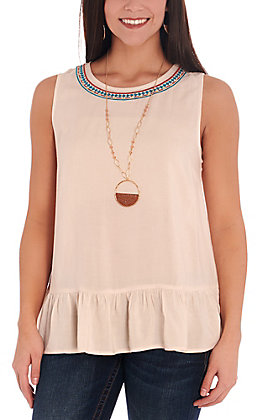 Rockin C Women's Ivory with Embroidered Neckline and Ruffles Fashion Tank