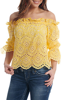 Flying Tomato Women's Yellow Lace Off The Shoulder Fashion Top