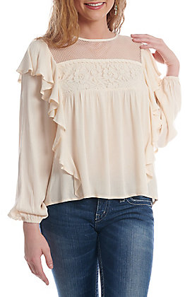 Flying Tomato Women's Nude Lace Long Sleeve Fashion Top