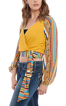 Flying Tomato Women's Mustard Aztec Surplus Cropped Fashion Top