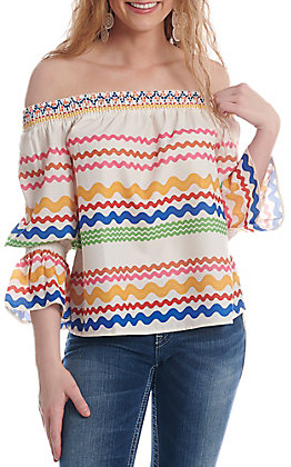 Flying Tomato Women's Ivory Multi Color Striped Off The Shoulder Fashion Top