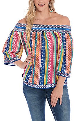Flying Tomato Women's Multi Colored Striped Off Shoulder Fashion Top