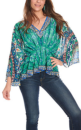 Flying Tomato Women's Green and Blue Medallion Print Sheer 3/4 Sleeve Fashion Top