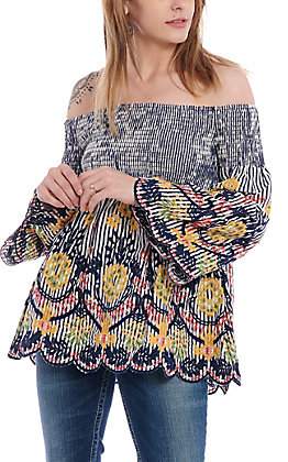 Flying Tomato Women's Striped, Floral Off The Shoulder Smock Fashion Top