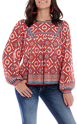 Flying Tomato Women's Red Print Long Sleeve Fashion Top