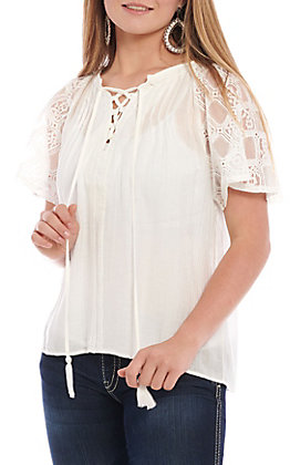 Flying Tomato Women's Ivory Lace Fashion Top