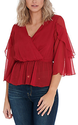 Flying Tomato Women's Burgundy Sheer Fashion Top