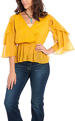 Flying Tomato Women's Mustard Ruffle Bell Sleeve Fashion Top