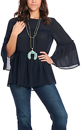 Flying Tomato Women's Navy Sheer Bell Sleeve Fashion Top
