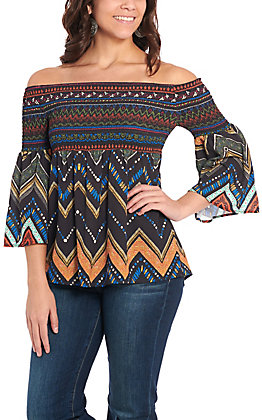 Flying Tomato Women's Black Chevron Smocked Fashion Top