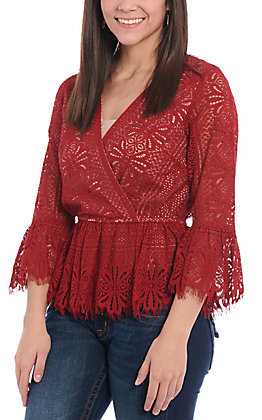 Flying Tomato Women's Burgundy Lace Fashion Top