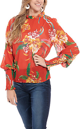 Flying Tomato Women's Red Floral Long Sleeve Fashion Top