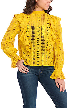 Flying Tomato Women's Yellow Lace Long Sleeve Fashion Top
