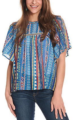 Flying Tomato Women's Blue with Aztec Print Sheer Short Sleeve Fashion Top