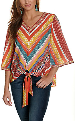 Rockin' C Women's Orange Multi Stripes V-Neck Tie Front Flutter Sleeve Fashion Top