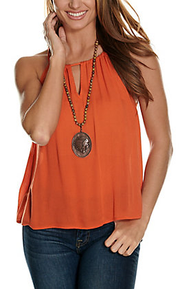 Rockin' C Women's Orange Tie Back Halter Tank Top