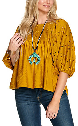 Rockin C Women's Mustard Floral Lace 3/4 Puff Sleeve Fashion Top