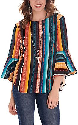 Rockin C Women's Serape Bell Sleeves Fashion Top